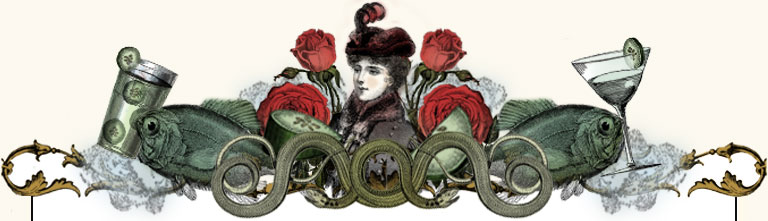 Illustration of a women with surrounded by roses and fish