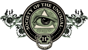 The Society of the Unusual Logo - An All-Seeing Eye inside of a flowery circle similar to the infamous illuminati